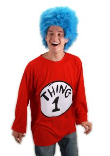 ADULT Costume Kit Size L Large / XL L/XL NEW Dr. Seuss T Shirt Wig
