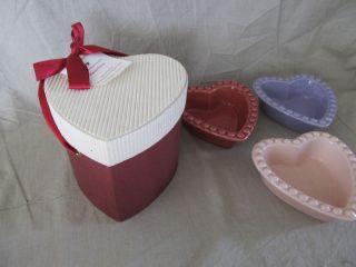 williams and sonoma beaded heart shaped ramekins bowls set of