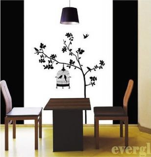 Birdcage Tree Removable Wall Sticker Home Decor Decal Art Black