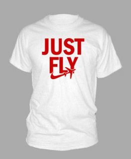 JUST FLY ~ Size LARGE T SHIRT tee shirt wiz khalifa plane hip hop rap
