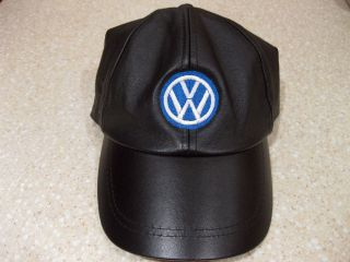 VOLKSWAGEN BLACK LEATHER BASEBALL CAP HAT EMBROIDERED VW GTI