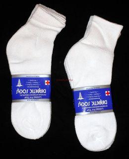 Lot Of 6 Pair White Diabetic Socks Quarter Ankle Style, MEN Size 9 11