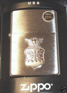 zippo air force crest brushed chrome lighter 280afc new time