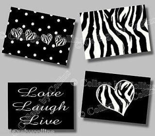 Zebra Print LIVE LOVE LAUGH Quote Art Girl Room Wall Decor HEART Polka
