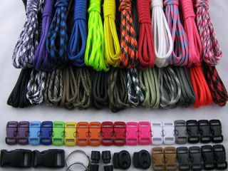 in USA 550 Type III Paracord Survival Bracelet Kit 250 Ft 25 colors