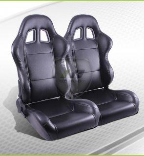 2x Universal Black Stitch JDM Turino Sport Racing Bucket Seats Driver