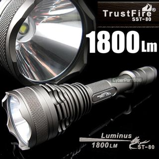 1800 Lumens SST 80 LED 18650 Flashlight Torch Lamp