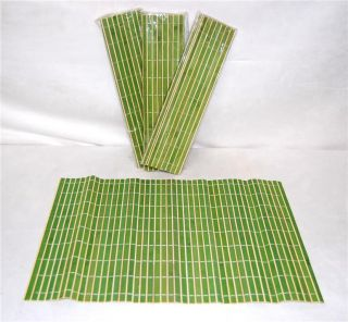 Bamboo Placemats 5 Set Green Asian Chinese Table Decor