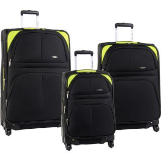 Pierre Cardin Somerset Spinner Black Lime Green 3 Piece Luggage Set $