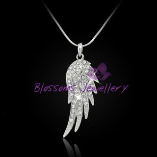 18K White Gold Layered Angel Wing Pendant Necklace Swarovski Crsytal