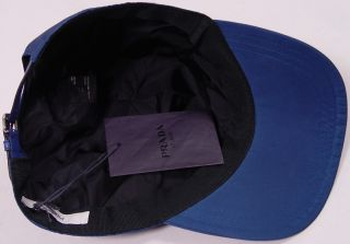 Prada Hat $385 Blue Prada Logo Crest ORNAMENTED Nylon Leather Ball Cap