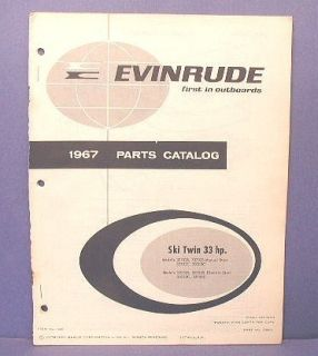 1967 Evinrude Ski Twin 33 HP Outboard Parts Catalog