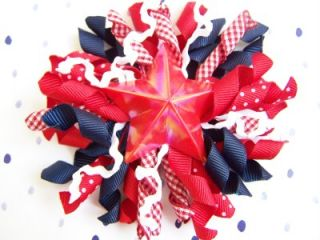New Custom 4th of July Red Star Boutique Korker Hair Bow