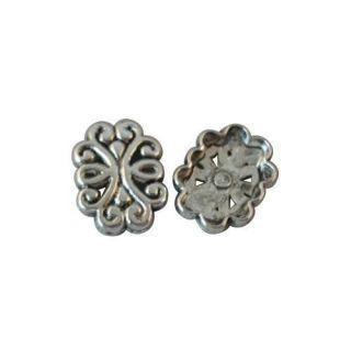 50 Tibetan silver flower link A8567