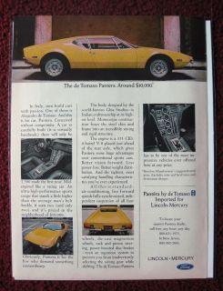 1972 Print Ad De Tomaso Pantera Ford Mercury Car ~ Italy Import Ghia