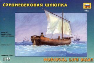 Zvezda 1/72 9033 Medieval Era Lift Boat Raft Ship Sail