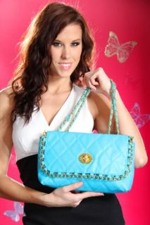 Home / TEAL FAUX LEATHER QUILTED WOVEN CHAIN FASHIONABLE HANDBAG