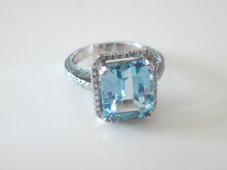 Emerald Cut Aquamarine and Diamond 14k Gold Ring 100 Natural