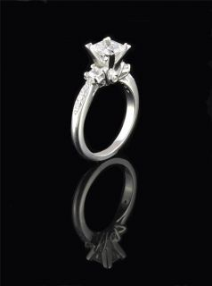 White Gold P 3 Stones Princess Cut Simulated Diamond Ring Sz 7
