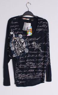 Desigual Womens TS LETTER Graphic Dolman Sleeve Blue T shirt