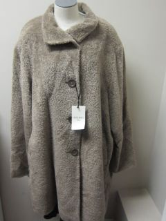 Rocca Plus Size Wool and Alpaca A Line Coat Light Brown $1385