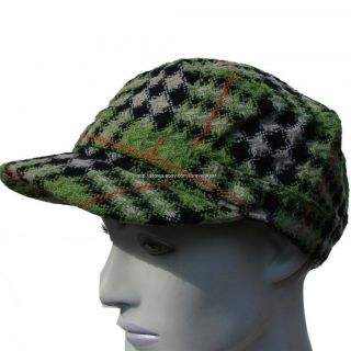NWT D&Y David Young Womens Ladies Hat Cap Newsboy Cabbie Green Plaid