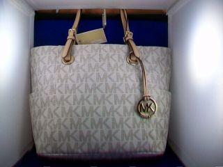 MICHAEL Michael Kors Jet Set E W Signature Tote Bag NWT Vanilla