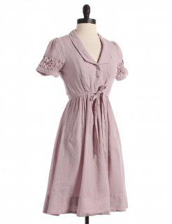 Mauve Striped Swiss Dot Dress with Pockets Sz 2 Purple A Line
