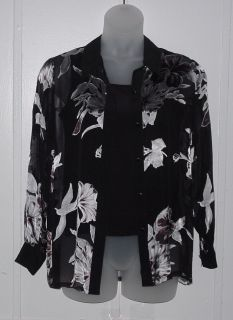 Victor Costa Occasion Burnout Big Shirt and Solid Tank Size s Black