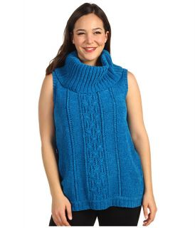 Anne Klein Plus Plus Size Sleeveless Cowl Neck Cable Pullover $94.00