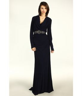 Badgley Mischka Long Sleeve Cowl Neck Gown with Belt