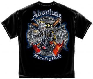 New Maltese Cross Skull Absolute Firefighter T Shirt Size MD