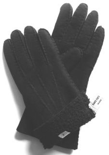 Saks Sheepskin Leather Gloves Black Womens New 8 Large
