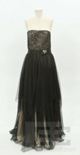 ABS Allen Schwartz Black Lace Swiss Dot Overlay Strapless Gown Size 12