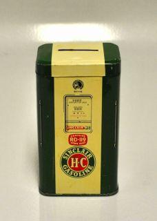 Sinclair H C Gasoline Gas Pump Tin Bank J L Clark Rockford IL