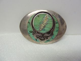 RARE Limited Sterling Silver Steal Your Face Grateful Dead Belt Buckle