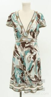 BCBG Max Azria Green And Brown Print Jersey V Neck Dress Size M