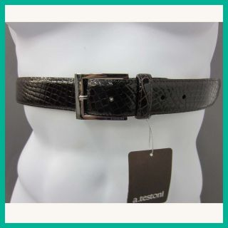 Testoni Mens Leather Crocodile Belt Dark Brown 30 US Rtl $965 Jmto