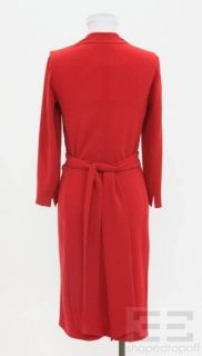 Max Mara Red Jersey Long Sleeve Wrap Dress Size 6 New