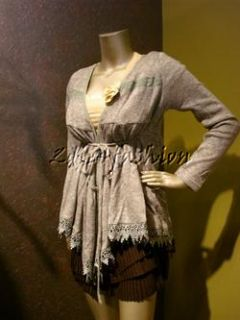 Tags RYU Gray Tiered Knit Lace Trim Tie Wrap Ruffle Cardigan Sweater L