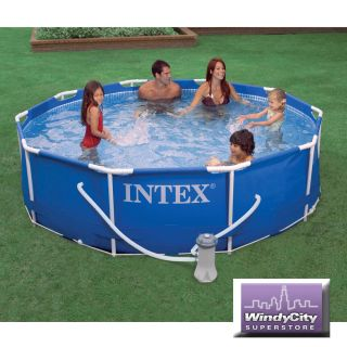 Intex 10 x 30 Metal Frame Above Ground Swimming Pool Set with 530 GPH