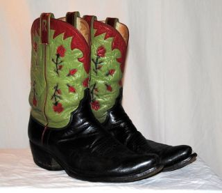 Cowboy Boots   Pee Wee   Inlay Roses   Initial R Monogram   11.5