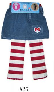 Size L A25 Red White Stripes Baby Girl Skeggings Tutu Tight Pants