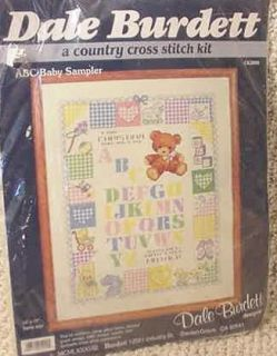 abc alphabet baby sampler cross stitch kit 1988 nip