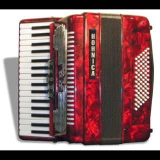HOHNICA ACCORDIAN 2353 RED G E 34/72 BASS PIANO ACCORDION w/ CASE