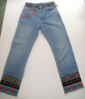 ABS embroidered flowers vintage denim blue jeans by Allen Schwartz