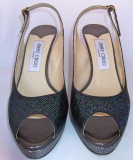 665 Jimmy Choo Nova Blue Anthracite Glitter Peep Toe Heels Slingback