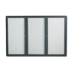 ACCO 2367L Enclosed Bulletin Board, Fabric Covered Cork, 72 x 48, Gray