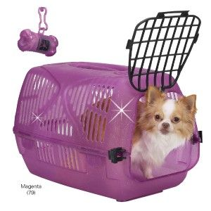 ProSelect Sparkle Pet Dog Plastic Carrier Crate Magenta