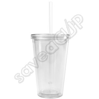 Set of 24 Insulated Acrylic Tumblers 16 oz Clear Cup